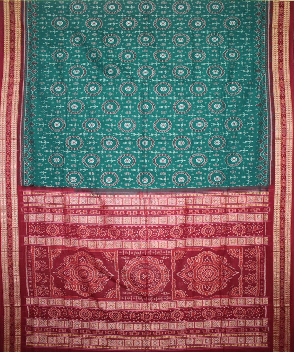 Turquoise Green Handwoven Bomkai Cotton Saree
