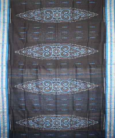 Handwoven Bomkai Cotton Saree in Black and Dodger Blue