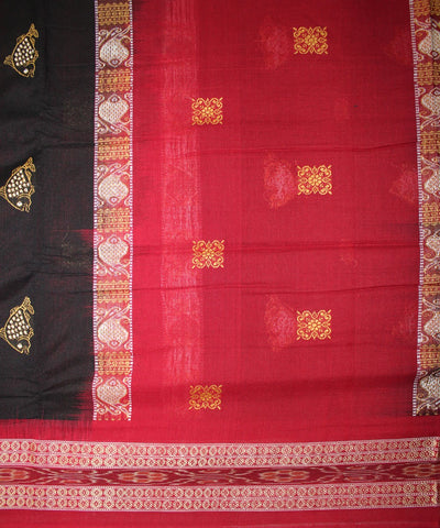 Handwoven Bomkai Cotton Saree in Black and Red