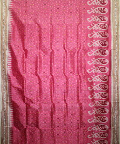 Handwoven Khandua Silk Saree of Nuapatna in Hot Pink and White