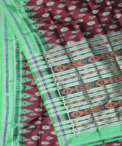 Handwoven Khandua Silk Saree of Nuapatna in Coffee and Electric Green