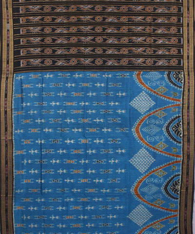 Blue Black Patli Handloom Khandua Silk Saree