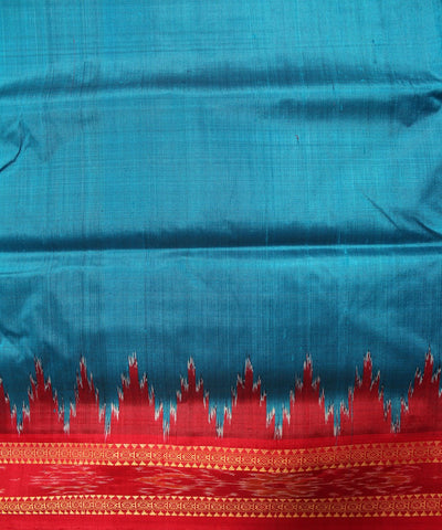 Handwoven Khandua Silk Saree of Nuapatna in Dodger Blue and Red