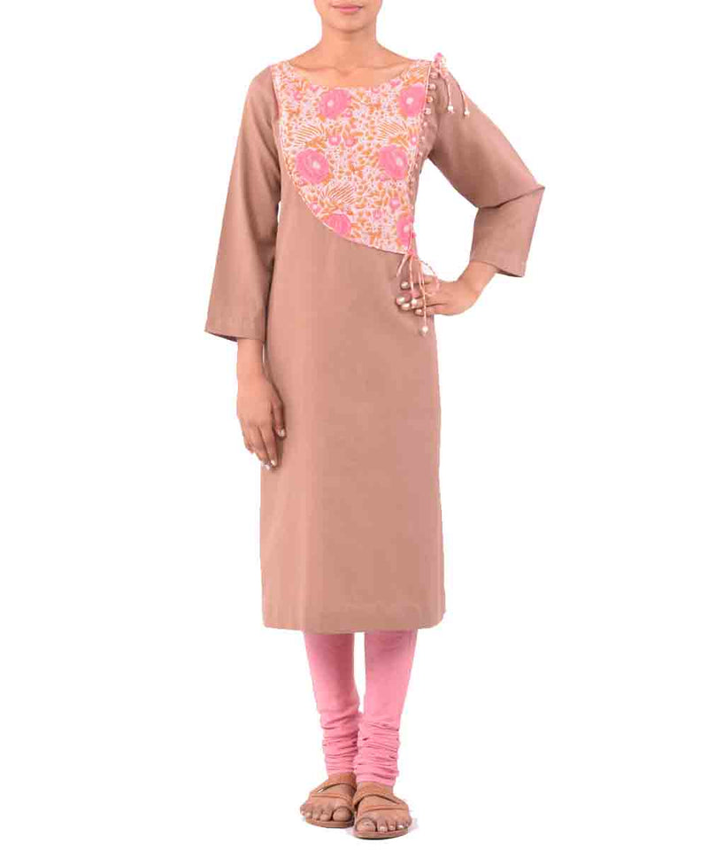 Chamois With Pink Handwoven Printed Kurti