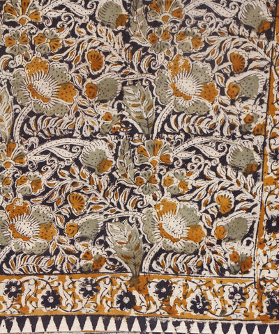 Handprinted Floral Kalamkari Cotton Saree