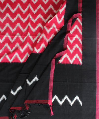 Handwoven Double Ikat Cotton Duppata In Pink and Black Color