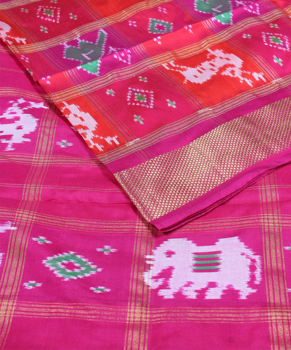 Handloom Orange Pink Ikkat Silk Saree