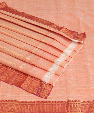 Light Orange Handloom Mangalgiri Cotton Saree