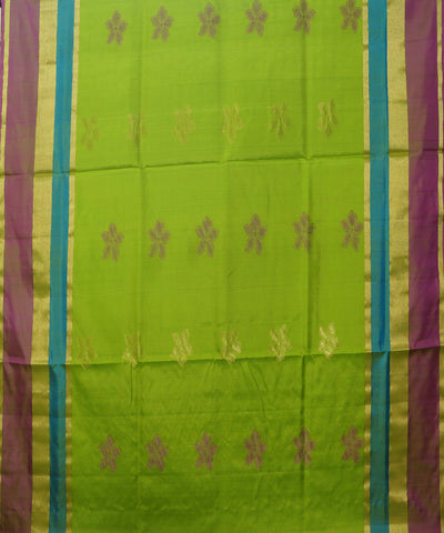 Handloom Parrot Green Pink Soft Silk Saree