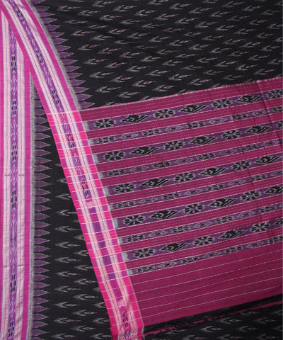 Handwoven Nuapatna Ikat Cotton Saree in Black and Pink