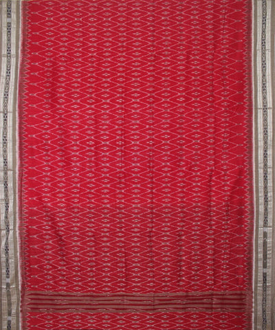 Handwoven Nuapatna Ikat Cotton Saree in Red and Dark Grey