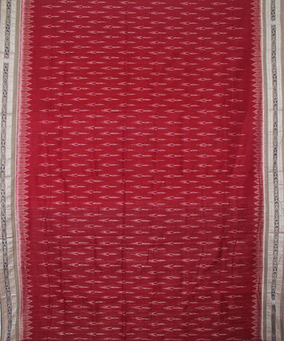 Handwoven Nuapatna Ikat Cotton Saree in Maroon and Dark Grey