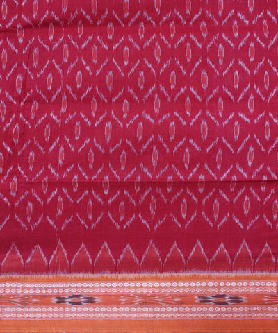Handwoven Nuapatna Ikat Cotton Saree in Red and Orange