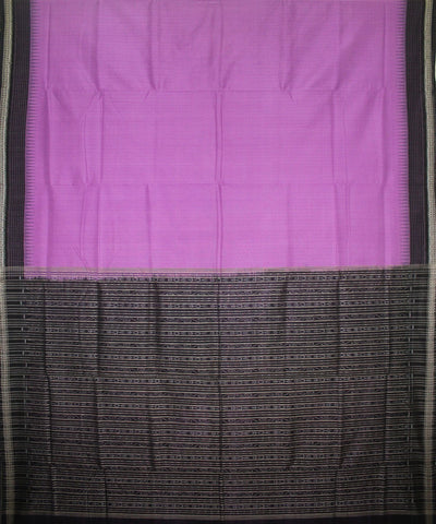 Handwoven Sambalpuri Ikat Cotton Saree in Violet and Black