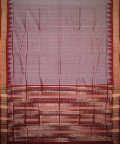 Handwoven Sambalpuri Ikat Cotton Saree in Reddish Grey and Maroon