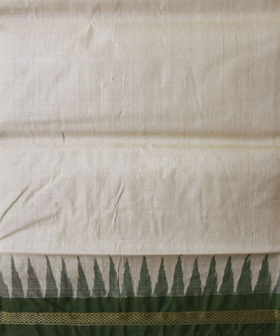 Handwoven Tussar Silk Saree of Gopalpur in Offwhite and Mehendi Green