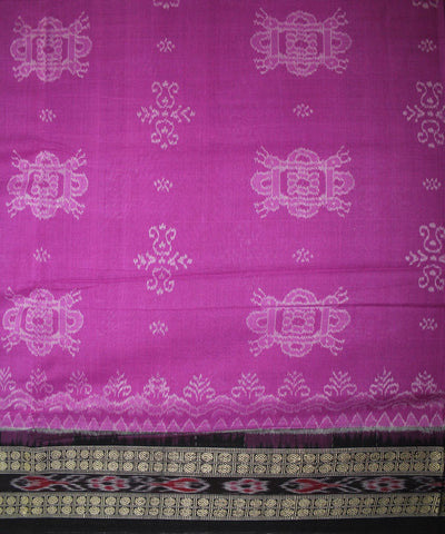 Handwoven Bomkai Cotton Saree in Magenta and Black