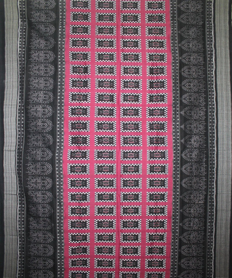 Handwoven Pasapalli Cotton Saree in Fuchsia Purple and Black