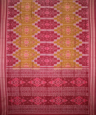 Handwoven Pasapalli Cotton Saree in Dark Golden Rod and Maroon