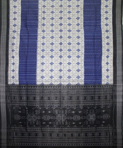 Handwoven Patli Pasapalli Cotton Saree in White and Black