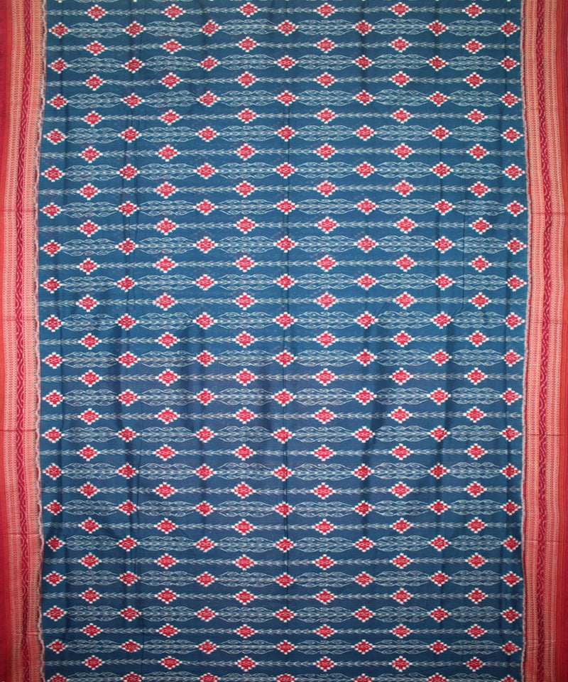 Handwoven Pasapalli Cotton Saree in Blue and Red