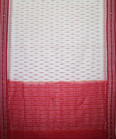 Handwoven Nuapatna Ikat Cotton Saree in White and Red