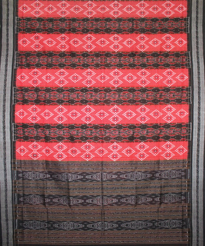 Handwoven Pasapalli Cotton Saree in Red and Black