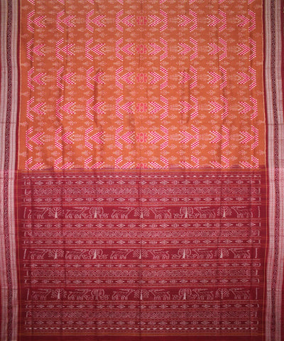 Handwoven Pasapalli Cotton Saree in Peru and Maroon
