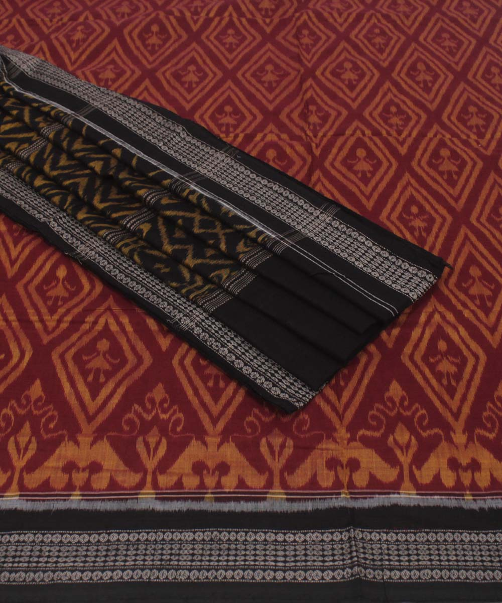 Maroon Black Sambalpuri Cotton Ikat Saree