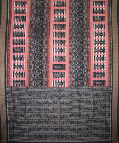 Handwoven Pasapalli Cotton Saree in Fuzzy Wuzzy and Black