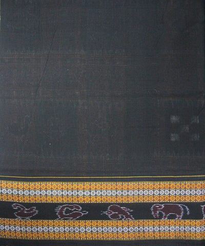 Handwoven Pasapalli Cotton Saree in Peru and Black