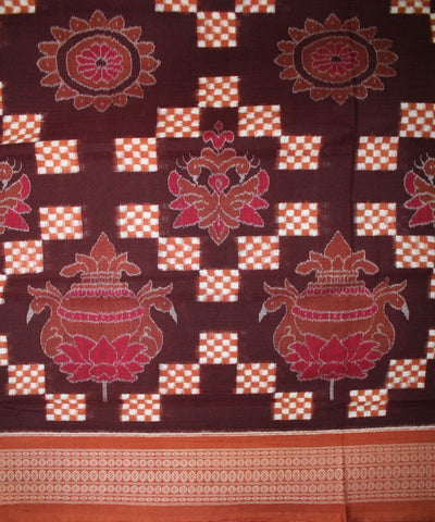 Handwoven Pasapalli Cotton Saree in Coffee and Peru