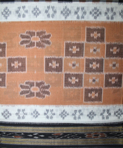 Handwoven Nuapatna Ikat Cotton Saree in Beige and Black