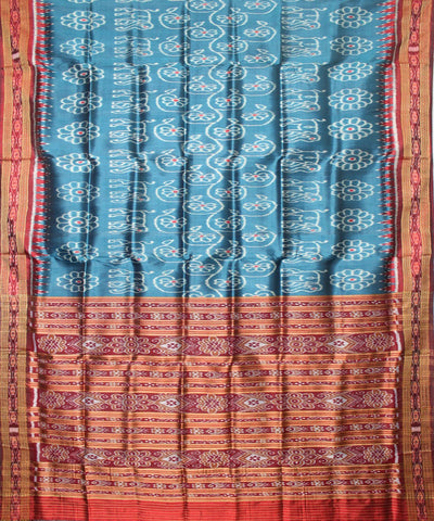 Handwoven Khandua Silk Saree of Nuapatna in Bondi Blue and Dark Maroon