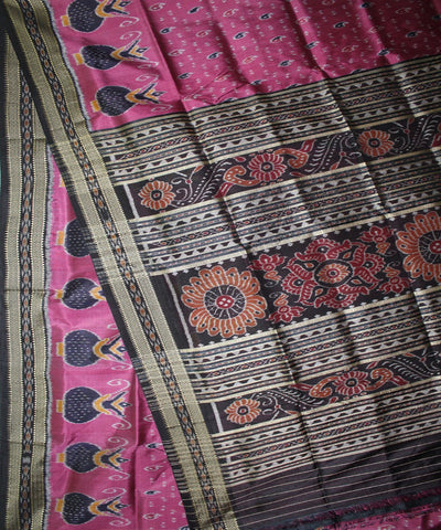 Handwoven Khandua Silk Saree of Nuapatna in Dark Pink and Black