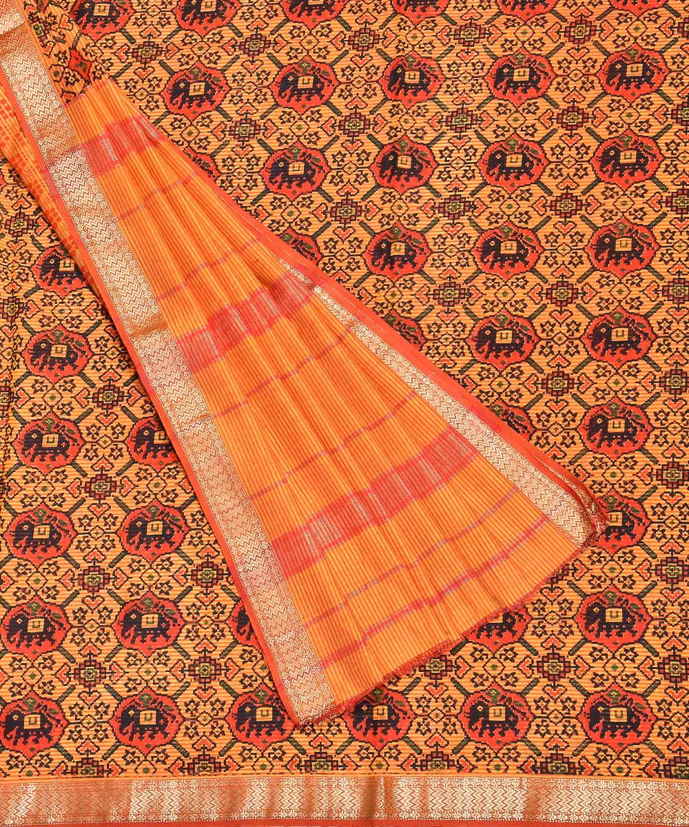 Handblock Print Yellow Red Maheshwari Saree