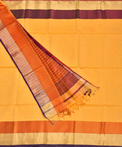 Handloom Yellow Maheshwari Sico Saree