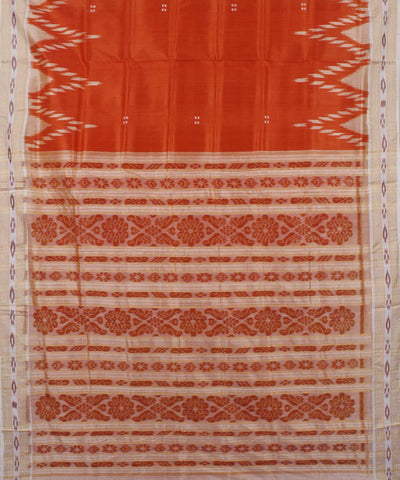 Red Creamy Beige Handloom Khandua Silk Saree