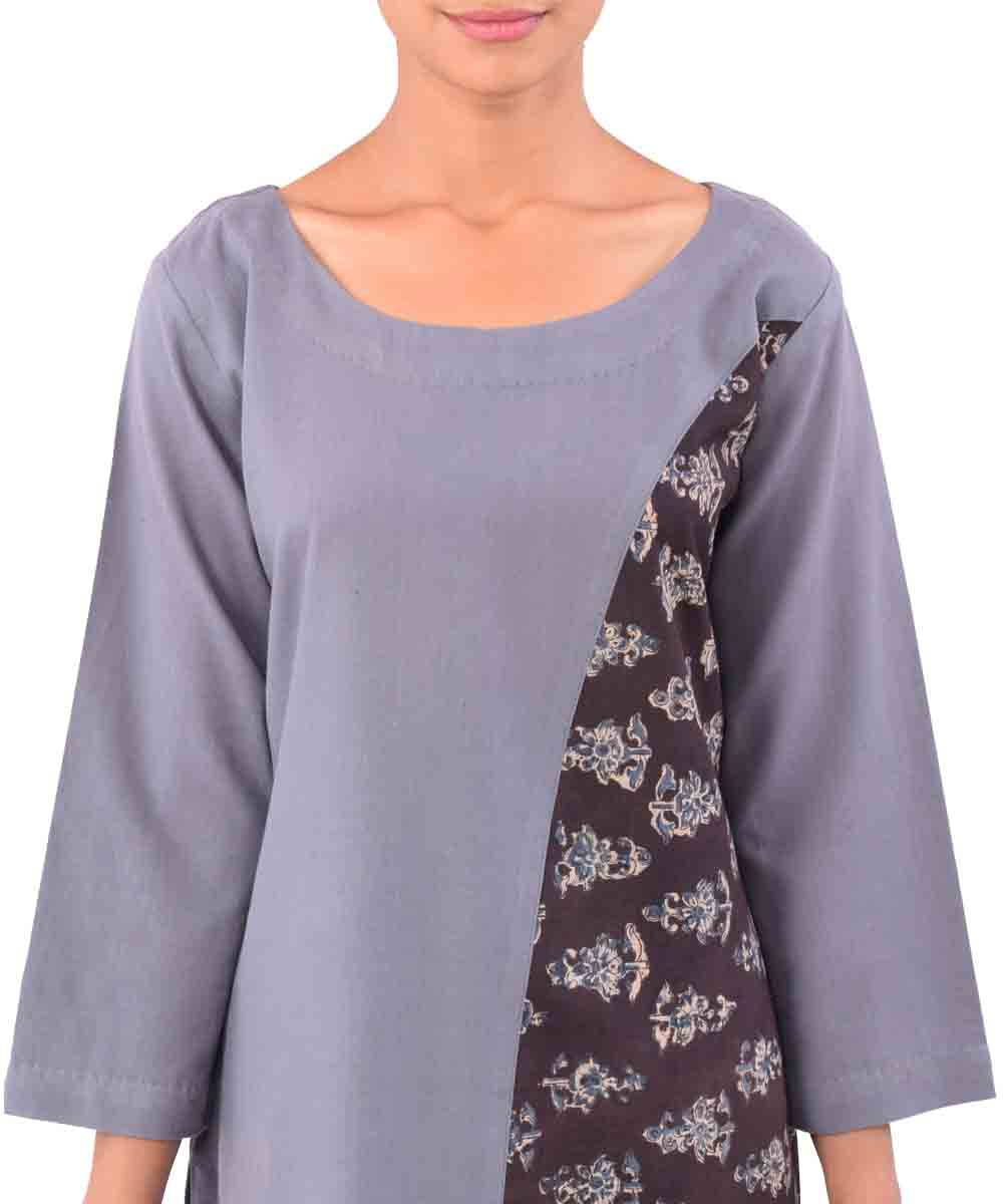 Grey With Black Handwoven Printed Kurti