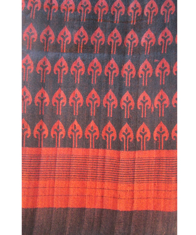Black and Red Tussar Saree