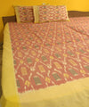 Pink and Yellow Handwoven Ikat Bed Sheet