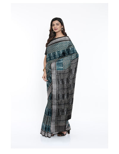 Rama Green Black Sambalpuri Cotton Saree