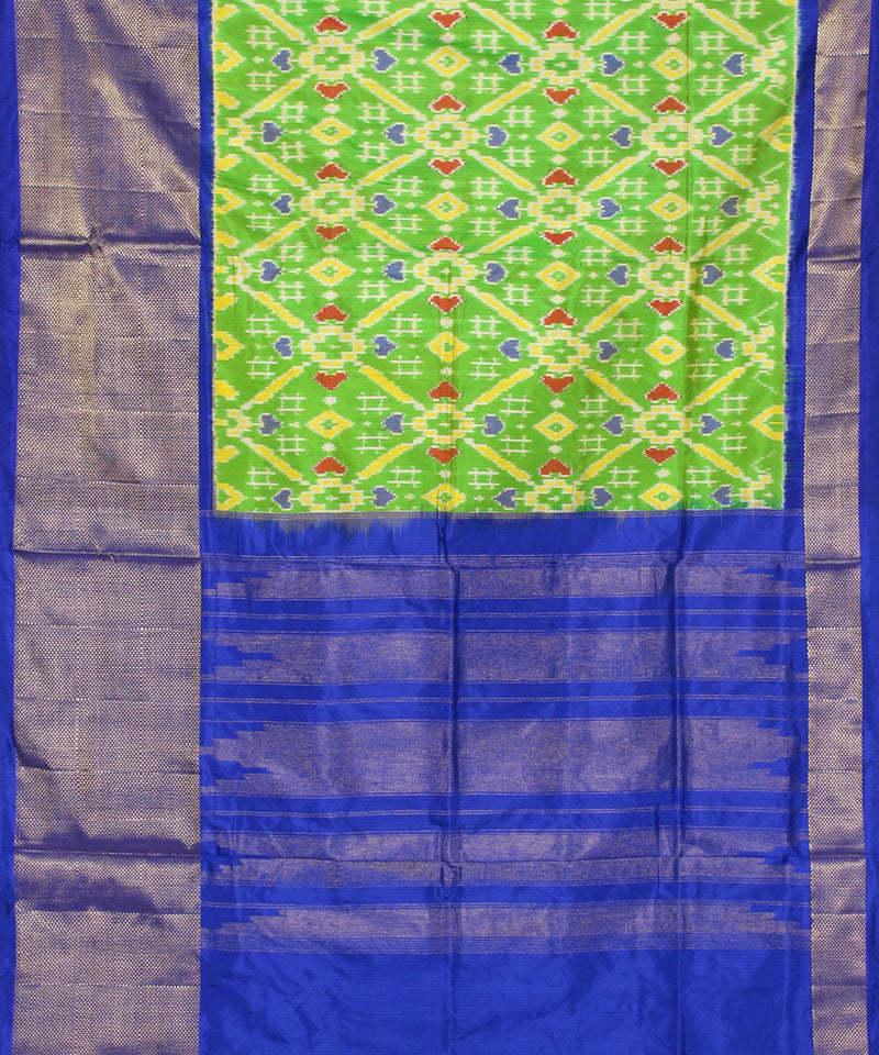 Handloom parrot green ikkat silk pochampally saree