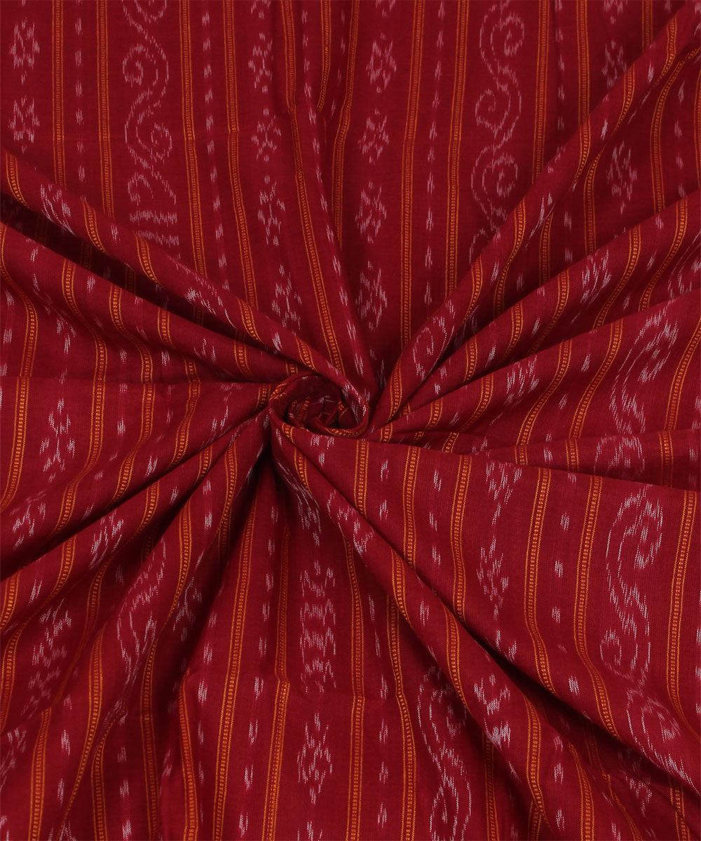 Maroon Stripe Nuapatna Handloom Cotton Fabric