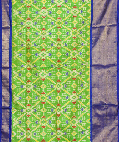 Handloom Parrot Green Ikkat Silk Saree
