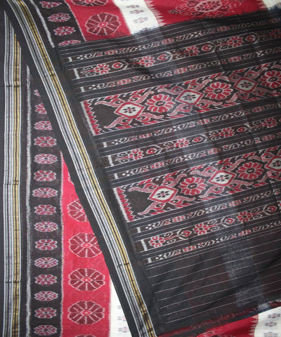 Handwoven Nuapatna Ikat Cotton Saree in Maroon and Black