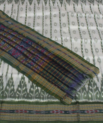 White Olive Green Handloom Khandua Saree