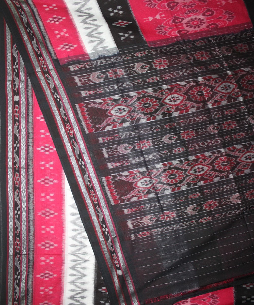 Handwoven Nuapatna Ikat Cotton Saree in Red and Black