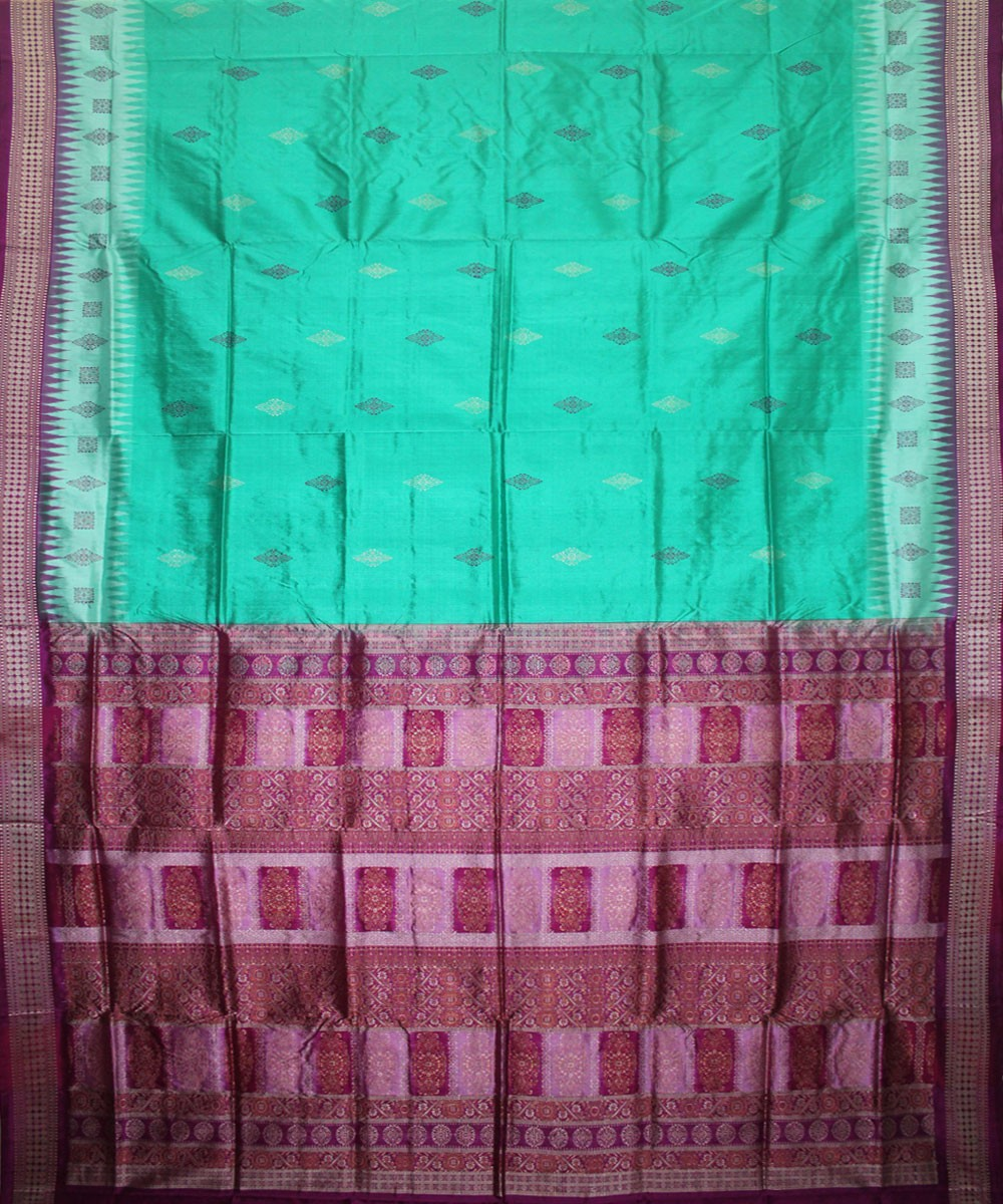 Handwoven Bomkai Silk Saree of Sonepur in Cyan and Byzantine