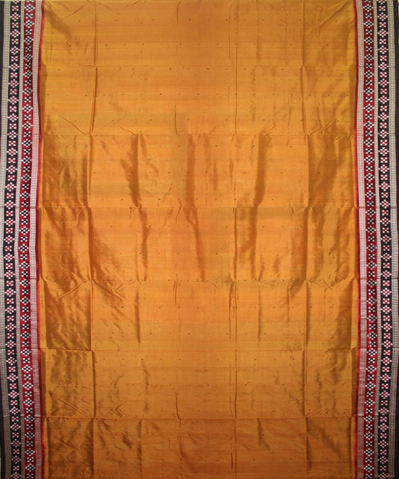 Handwoven Bomkai Silk Saree of Sonepur in Mustard and Black